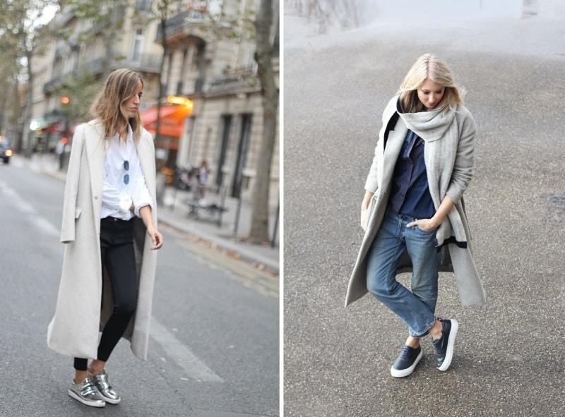 Пальто с кроссовками (фото стильных женщин)