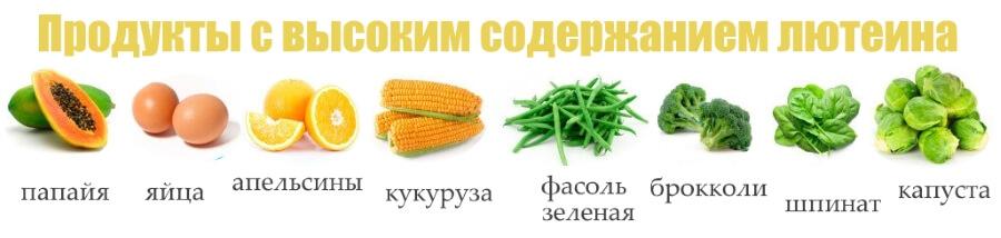 Продукты, содержаащие антиоксидант Лютеин