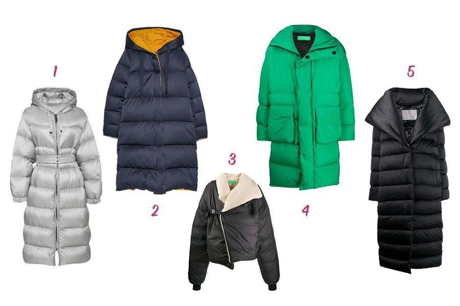 1-Max Mara, 2-Zara, 3 and 4-AA Spectrum, 5-Herno