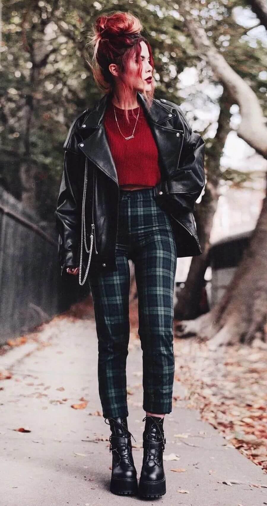 С чем носить женские клетчатые брюки
