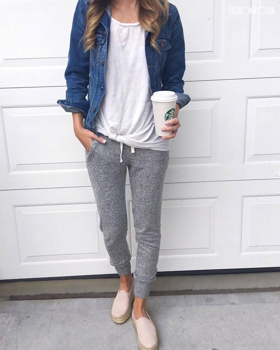 С чем одеть серые спортивные штаны